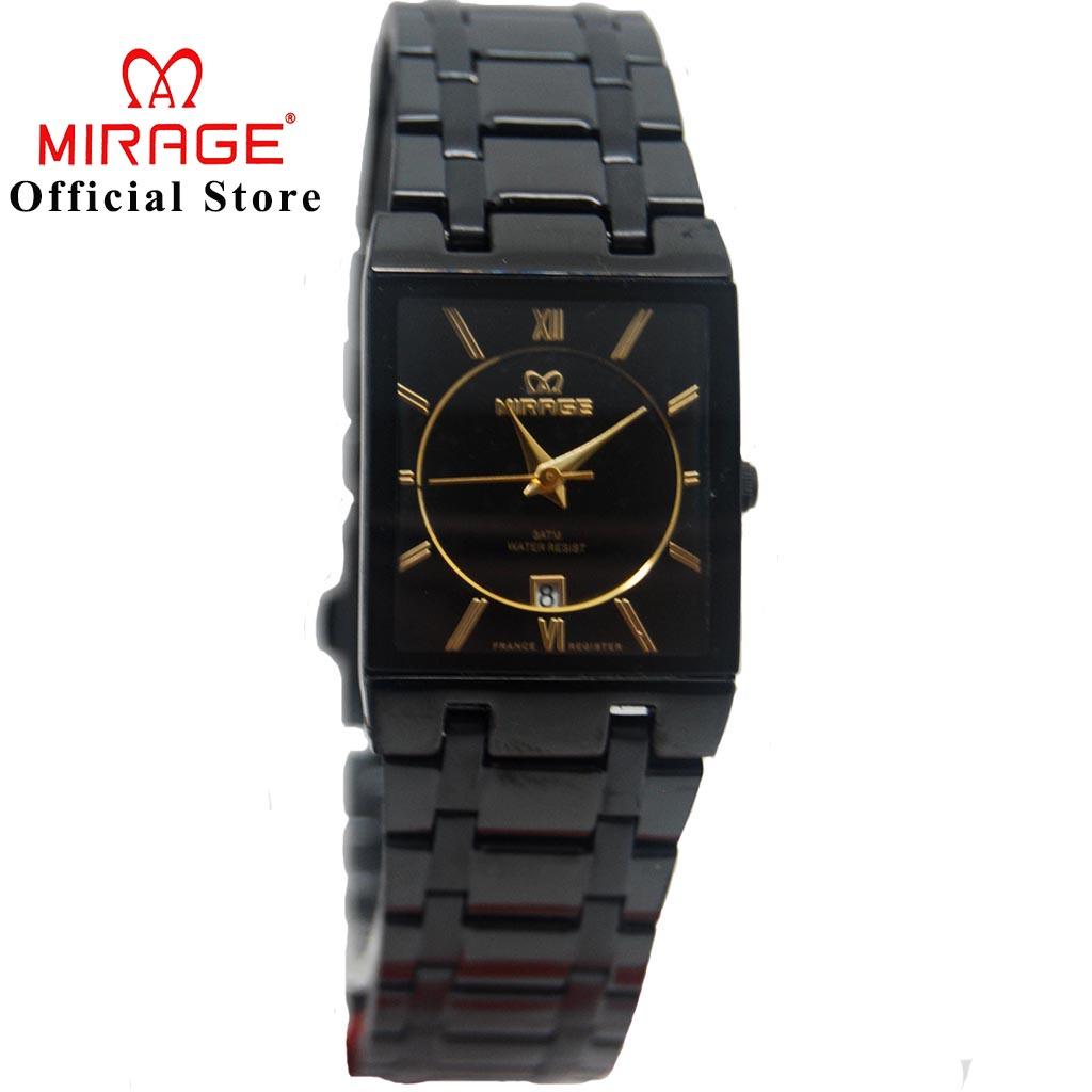Jam Tangan Mirage wanita Segi Tipis Double Plat Tgl AKtif Original Garansi Black 7908L