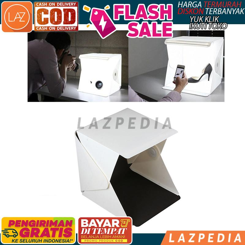 B67 - Bayar Ditempat - [putih] Mini Photo Studio Box Folding Kotak / Tempat Foto Portable With Led / Photo Studio Mini Magnetic Dengan Lampu Led / Studio Foto Mini By Lazpedia.