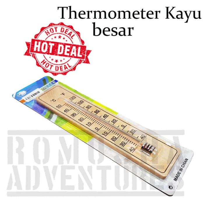 Romusha Thermometer Kayu Maotif Polos Type Besar Dinding Tempel By Romusha Adventure.