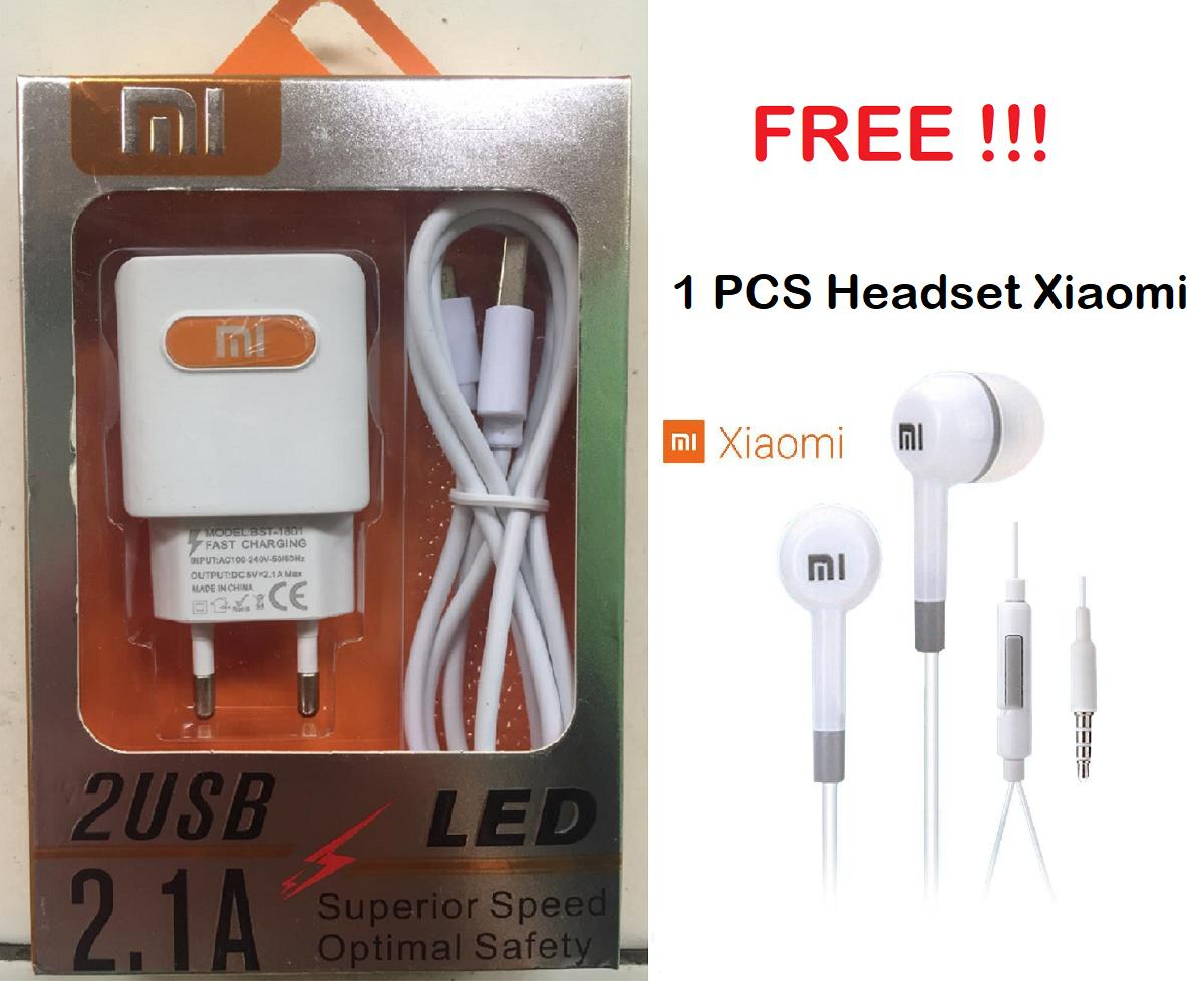 XIAOMI Charger Carger Chasan Casan Cas XIOMI XIAOMI Fast Charging 2.1 A 100% Handphone HP FREE Headset Hedset Henset_MGM27