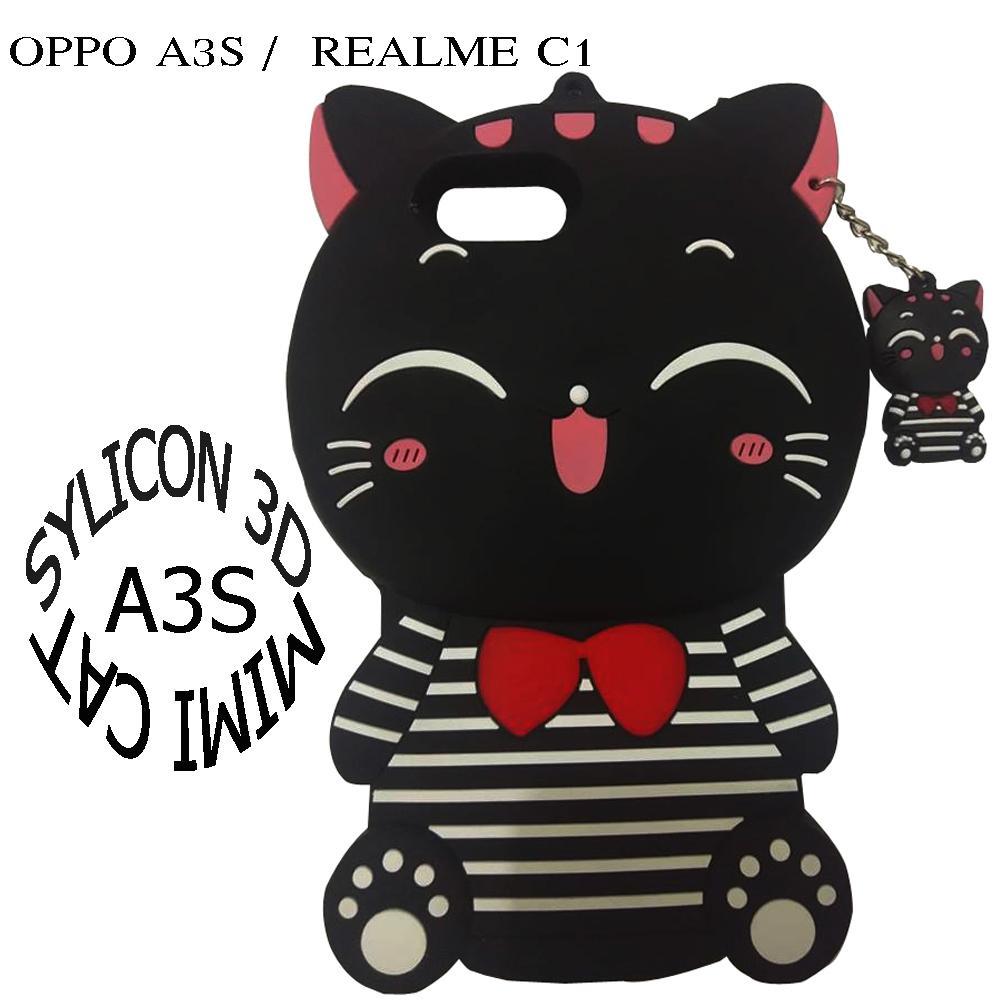 Softcase 3D Case For OPPO A3S Boneka Timbul 4D Karakter CAT 3D TERSEDIA WARNA BLACK /