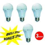 Harga Cmos Led Bulb 3W Rc E27 Paket 3 Pcs Bonus 1 Pcs Day Light Putih Termurah