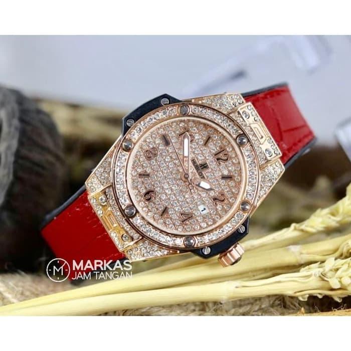 Jam Tangan Wanita HUBLOT Classic Date Full Diamond Leathers Watch