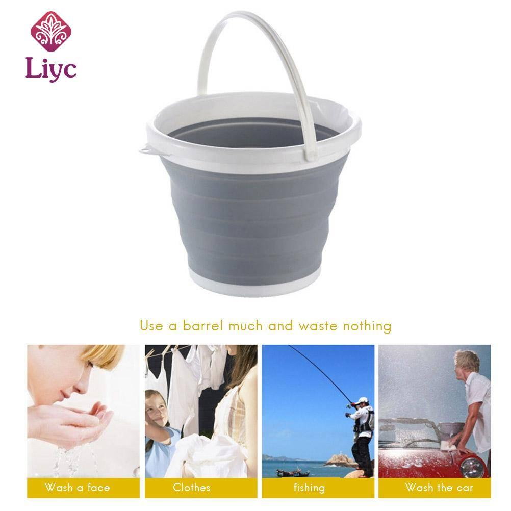 Liyc 10L Bucket for Fishing Promotion Folding Bucket Car Wash Outdoor Thick Silicone Fishing Supplies Free shipping Portable Camping Square Bathroom Kitchen Camp Bucket
