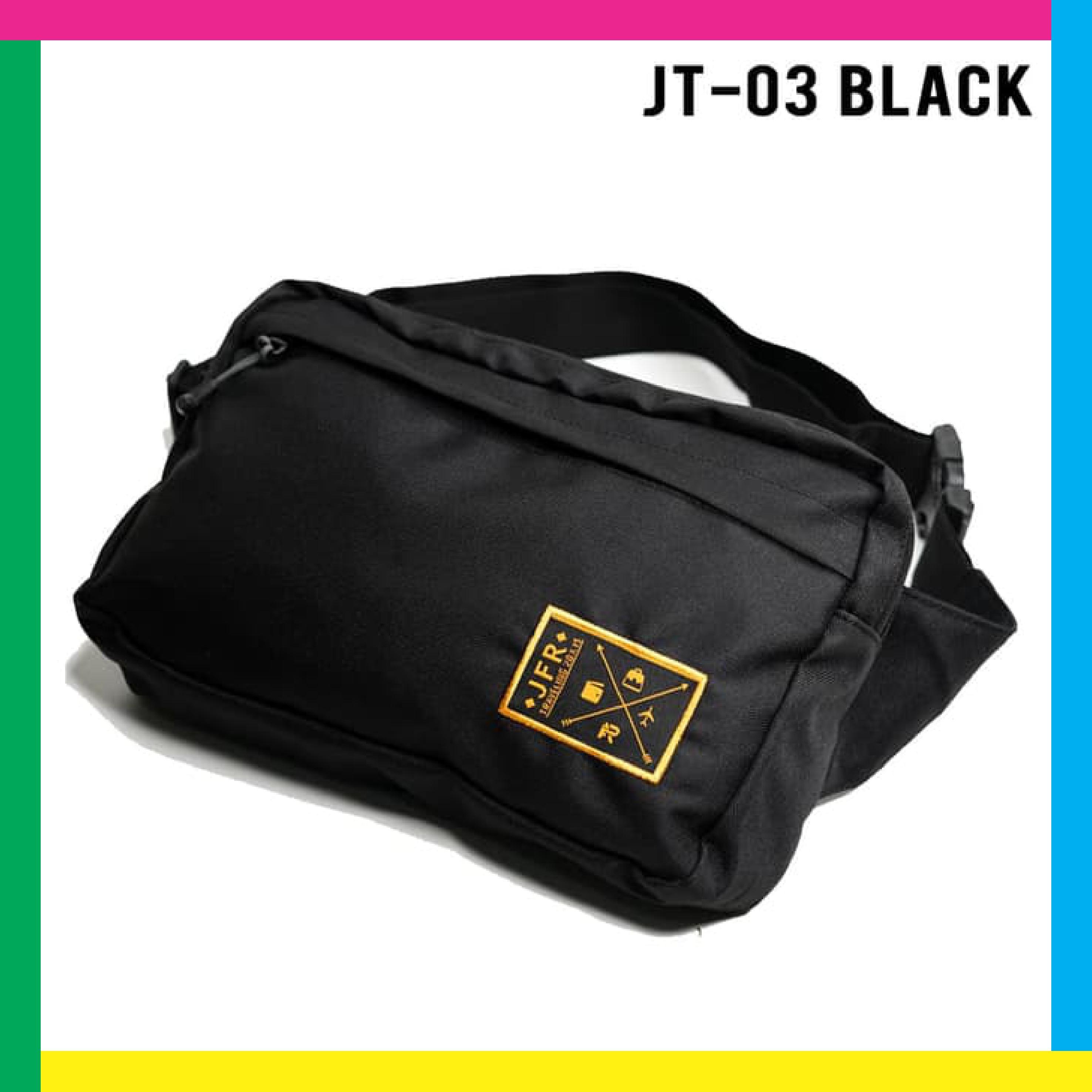 Tas Pinggang Waist Bag Bahan Polyester Jt03 Black / Tas Pinggang Pria Keren / Tas Pinggang Pria Casual By Red Trade.