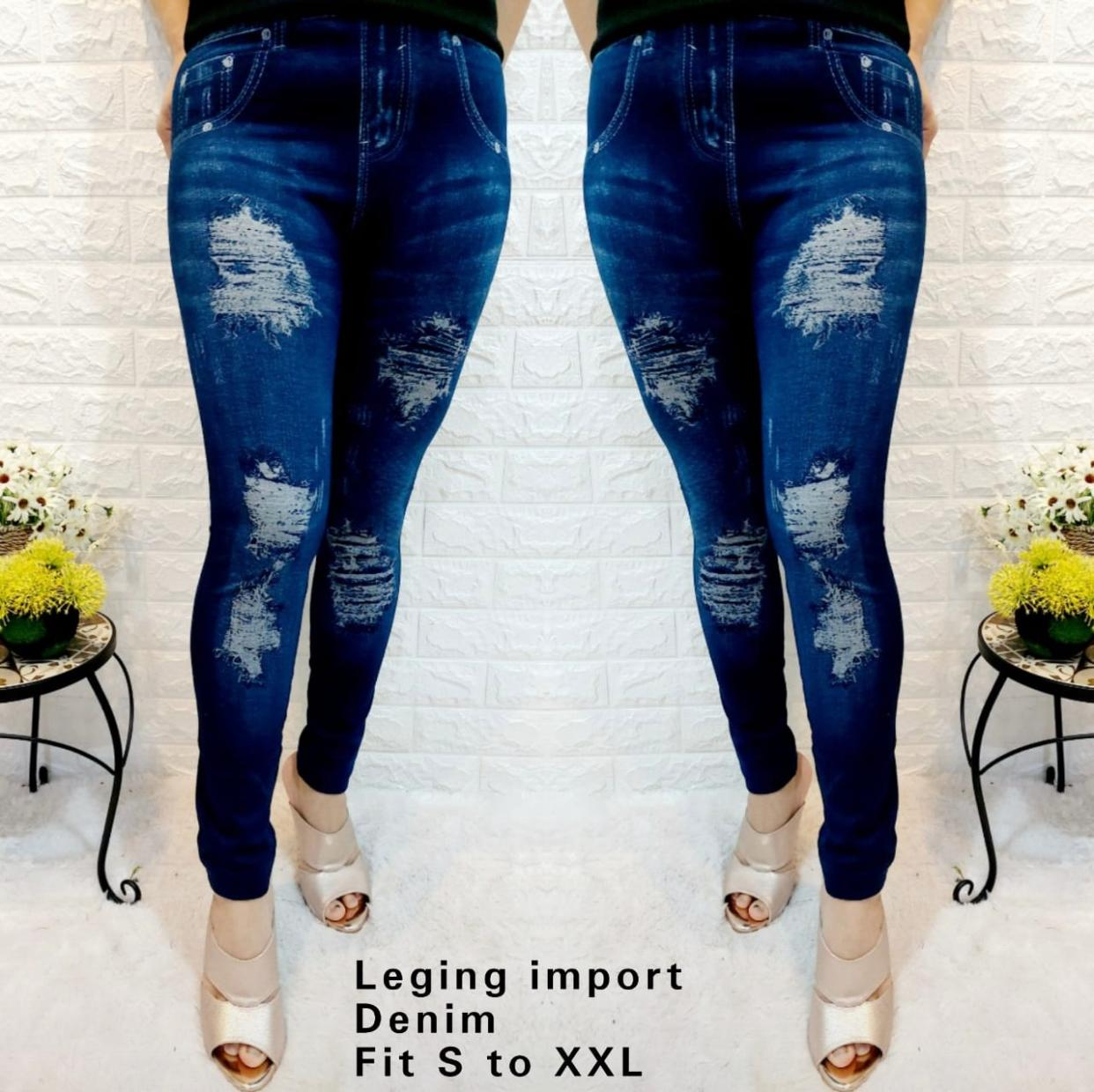 Terbaru Celana Leging Denim Import Legging Premium Bahan Kaos Import Denim All Size Merapi Indah Lazada Indonesia