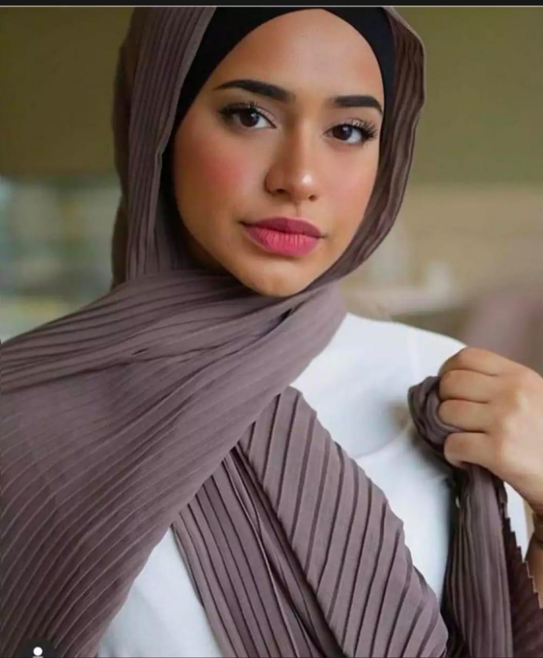 Jilbab Pashmina PLISKET Diamond Crepe - Kerudung Pasmina Diamon Italiano Prisket / Pleated Shawl