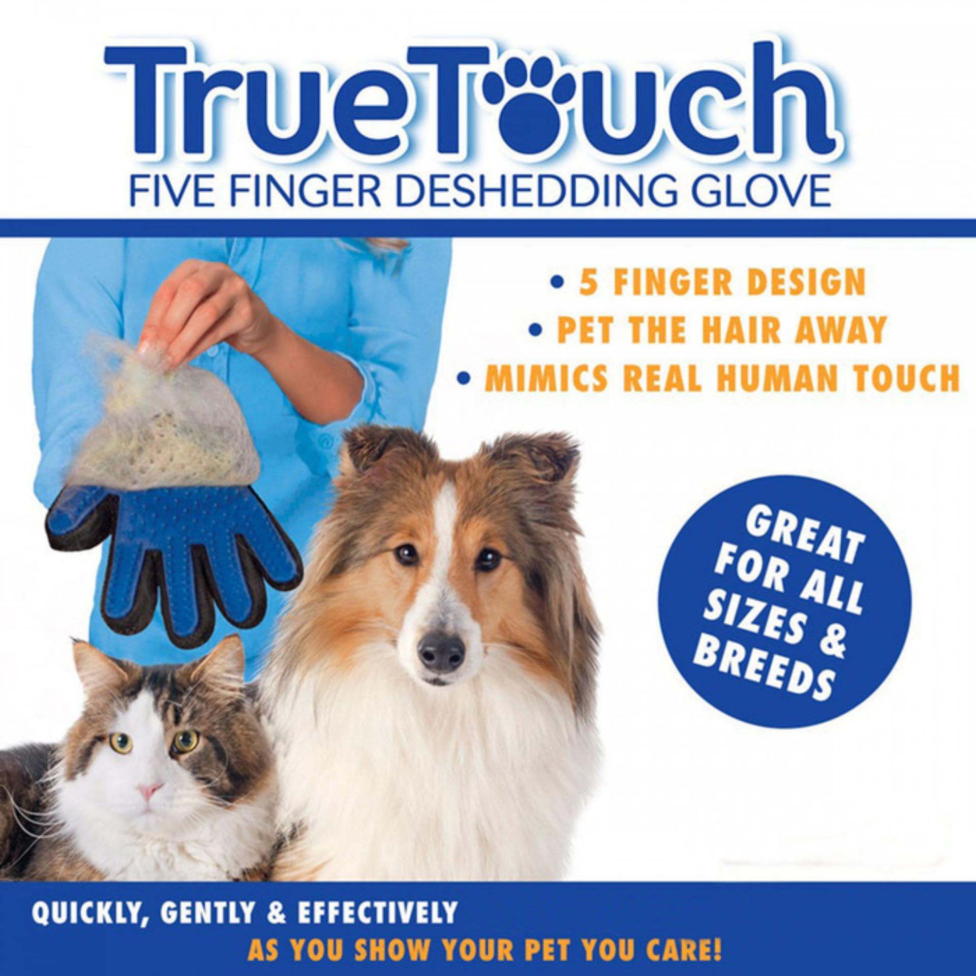 True Touch Pet Glove Sisir Anjing Kucing Grooming Sarung Tangan