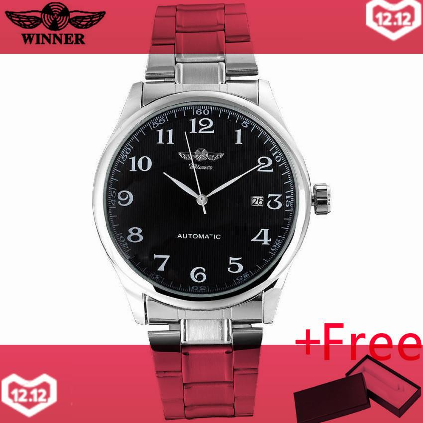 2016 WINNER famous brand men business automatic self wind watches black dial transparent glass silver case stainless steel band