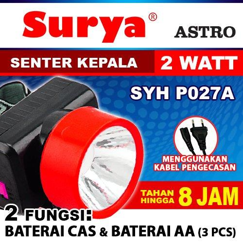 Surya Astro Senter Kepala Led Super Terang Syh P027a Led 2 Watt Headlamp 2 Function Rechargeable & Cable Bundle 8 Jam Free Baterai Aa 3 Pcs By Elektronik Rumah