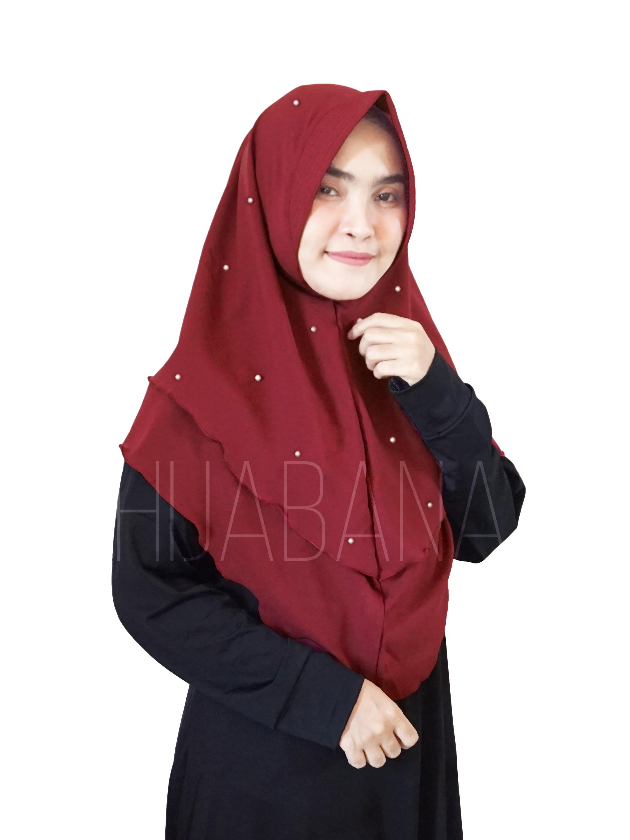 HIJABANA Hijab Instan Thalia Pearl 2 Layer Ped Pad - Kerudung Pesta 2 lapis - Jilbab Instan Pesta Mutiara - Hijab Swarosky