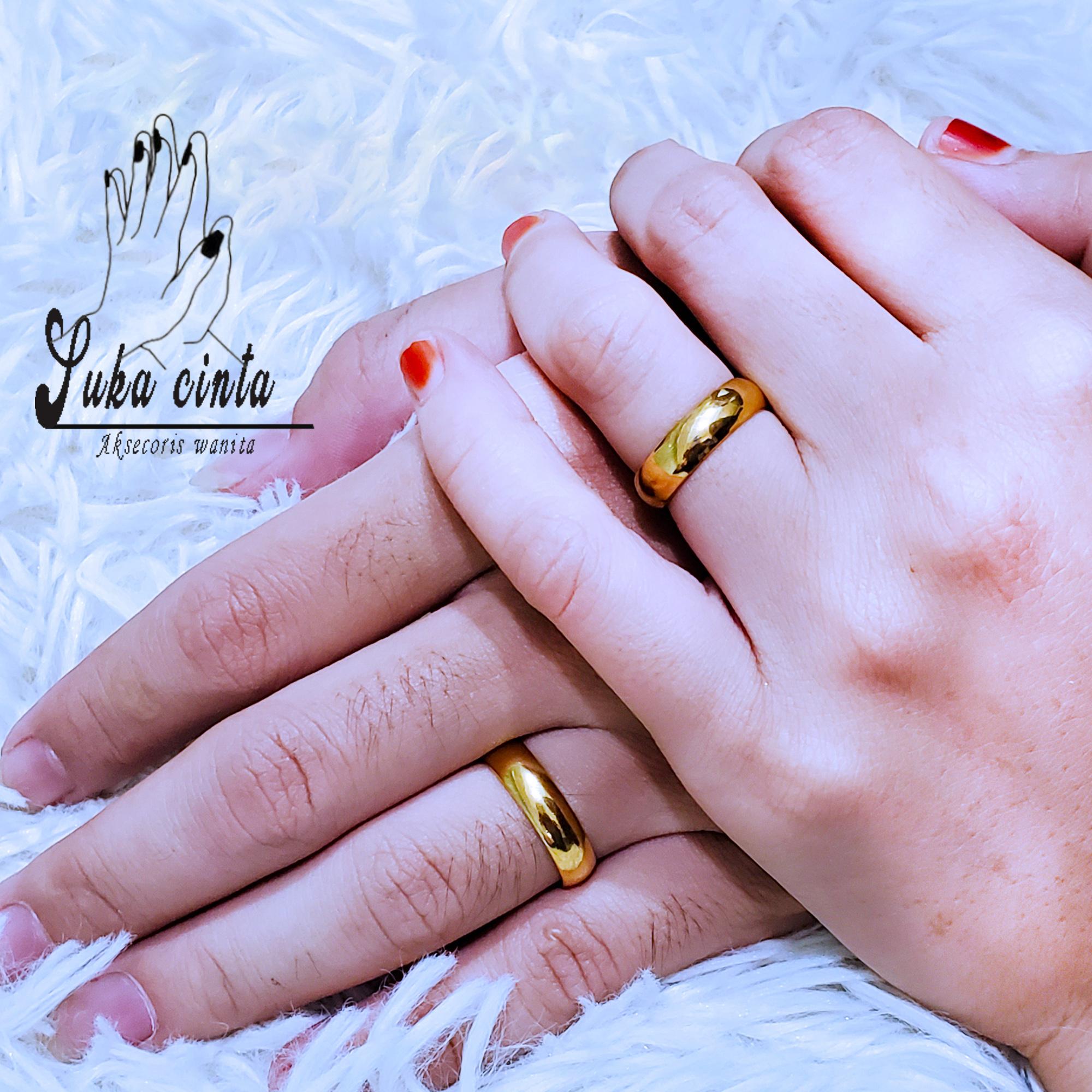 Cincin Nikah Cincin Couple Cincin Tunangan Cincin Kawin Polos Dpt 2 Pcs Gold Lazada Indonesia