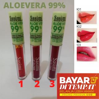 (BISA PILIH WARNA) LIP TINT LIP GLOSS SASIMI ALOEVERA 99% TERLARIS thumbnail