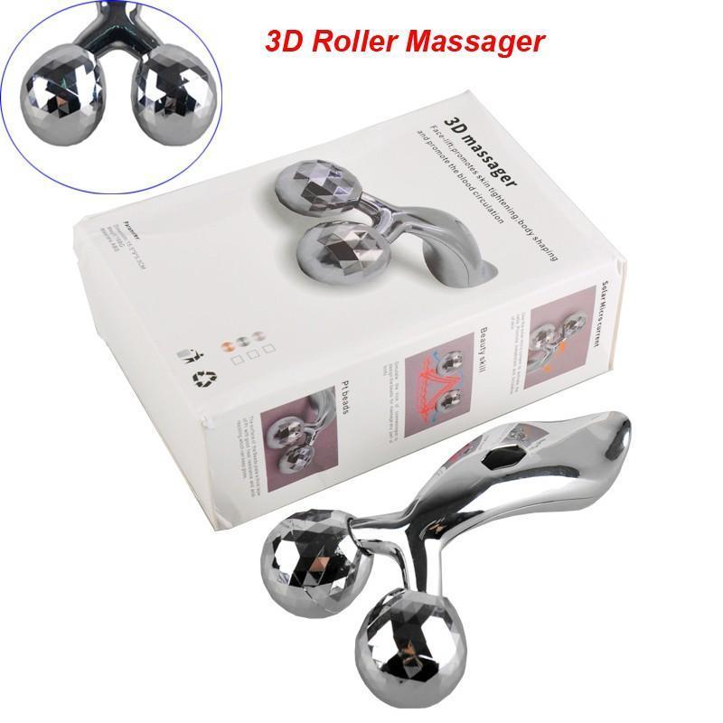 DUNIA SHOPING Promo COD 3D Massager Alat Pijat Manual Alat Pijat Wajah Alat Pijat Badan 3D massage Face Lift Body Slimming Massager Roller Silver K132