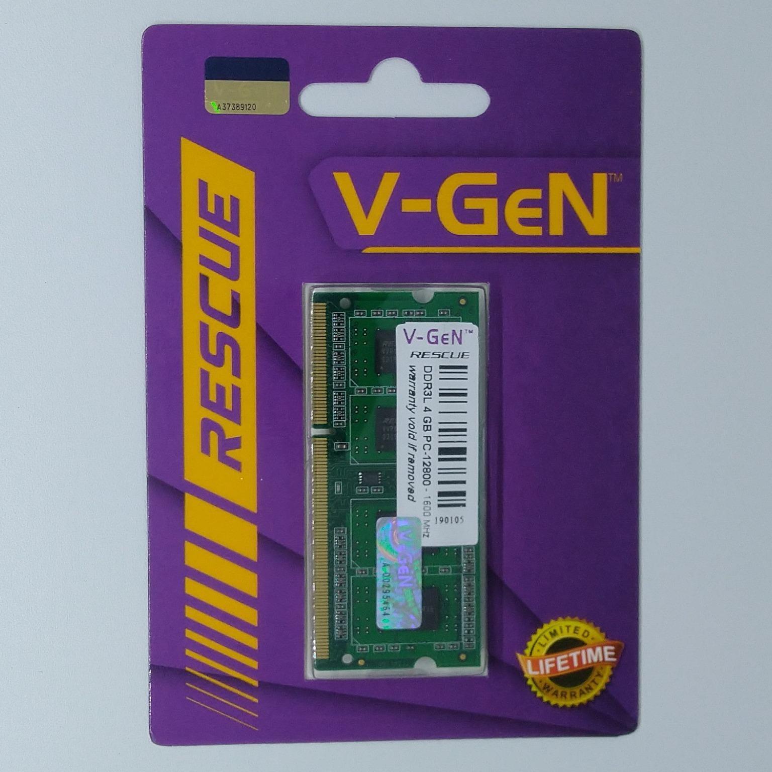 Ram Ddr3l Sodimm V-Gen Rescue 4gb Pc12800/1600mhz (memory Laptop Vgen) By Valkyre Online Shop.