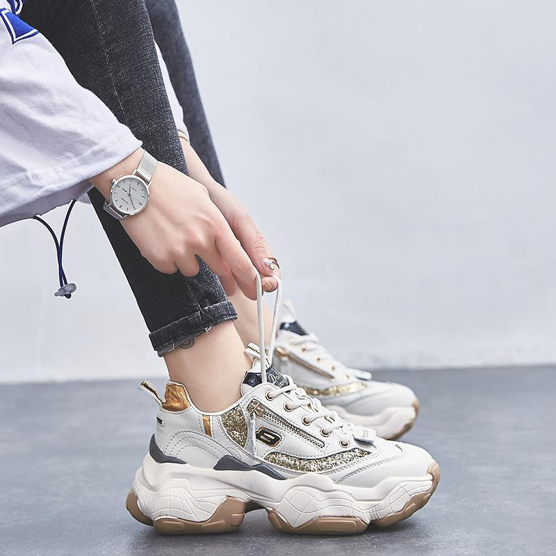 OLdPAPA Sepatu Musim Semi 2019 model baru Gaya Korea netral sepatu putih kecil Sol Tebal merah