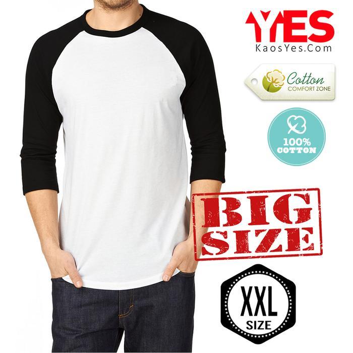 Kaos Polos T-Shirt *BIG SIZE XXL* O-Neck RAGLAN LENGAN 3/4 - Abu Hijau, XXL