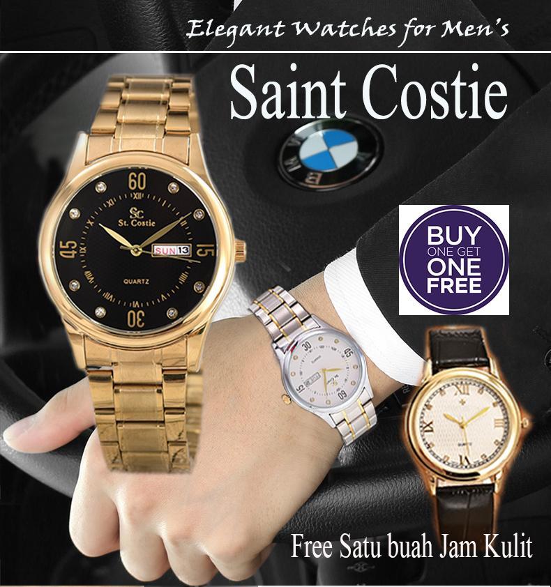 Jam Tangan Pria - Saint Costie - SC-8032G-TH-Stainless Stell Band + FREE JAM TANGAN KULIT