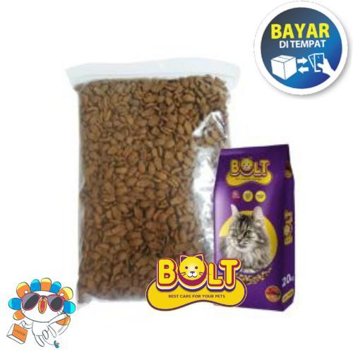 Makanan Kucing Bolt Ikan Repack 500gr Kemasan Polos By Flamouza Petshop.