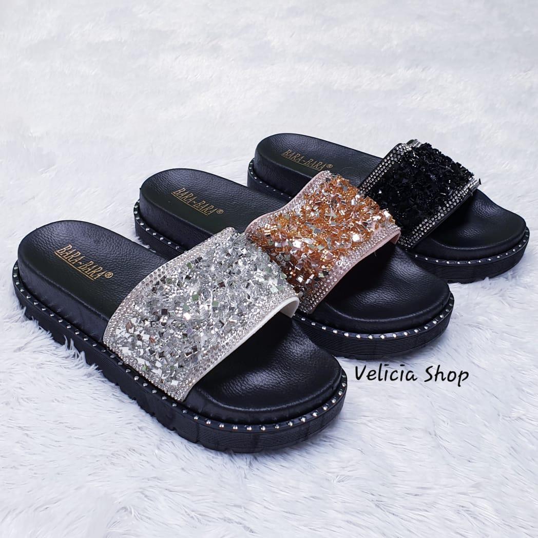94c1faa62220 Sandal Wanita - Selop Jelly Bara Bara Wanita - Sandal Selop Bling Bling  Kotak Warna Dikirim
