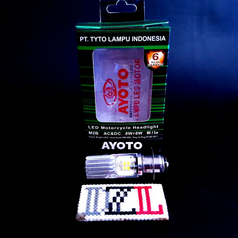 lampu utama led h6 ayoto m2b 2 sisi ac dan dc m5 kaki 1 pnp semua motor bebek