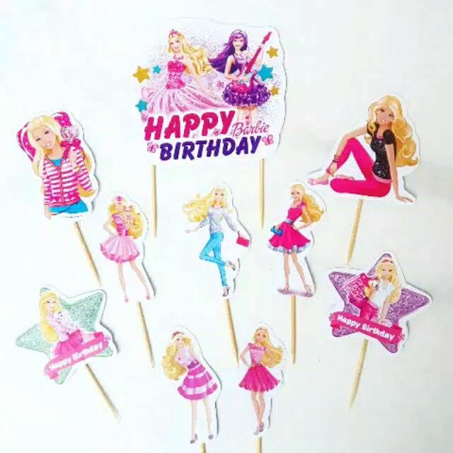 Satu Set Topper Toper Cake Hiasan Kue Ulang Tahun Karakter Barbie Lazada Indonesia