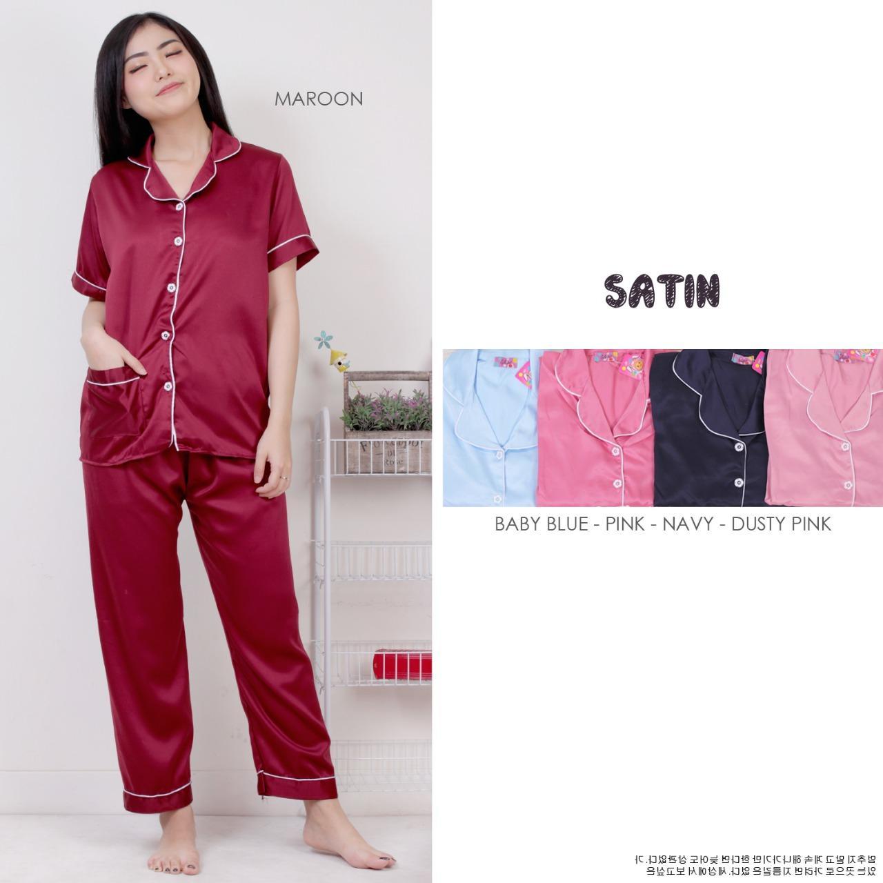 CP Piyama Pajamas   Saten sleepwear   piayama wanita saku baju satin silky    piayama Lengan a6403913ce