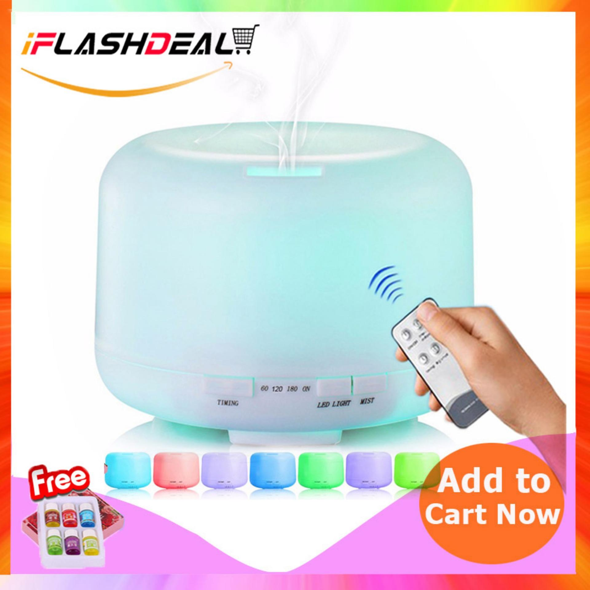 Iflashdeal Pembersih Udara Ultrasonic Aroma Diffuser Air Humidifiers Aromatherapy Essential Oil Diffuser Air Purifier Cool Mist Quite Design For Home Office Room 500ml Remote Control By Iflashdeal.