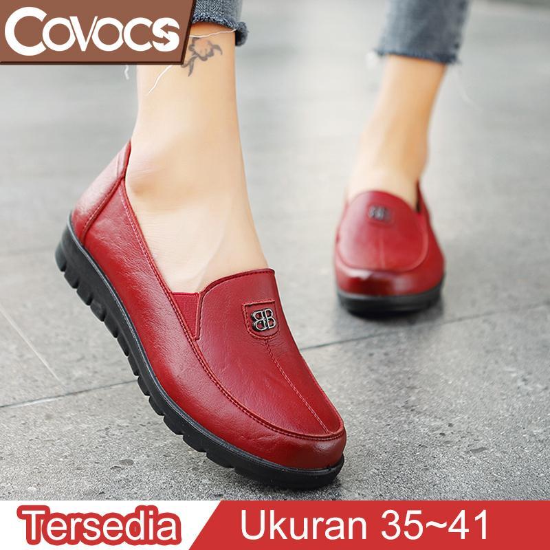 COVOCS Sepatu Flat Shoes Wanita Kulit Korea Fashion Terbaru Sepatu Kantor Elegan Nyaman Bernapas Ringan Termurah Ukuran 35-41