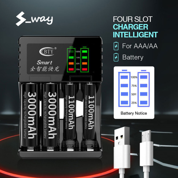 Giá S_way Đen 4 Khe Sạc Pin Thông Minh Thông Minh Sạc Nhanh Cho Màn Hình LCD Sạc Pin Có Thể Sạc Lại AA / AAA