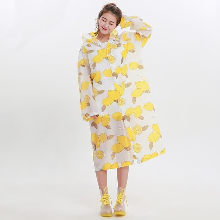 Jas Hujan Motif Lemon Poncho Eva Rain Coat - Terusan Ponco Import By Life & Beauty.