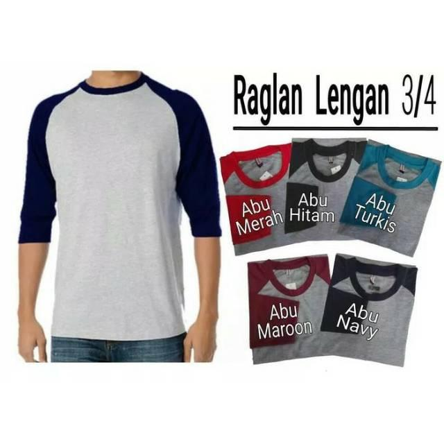 Kaos Raglan Lengan 3/4 MurahAbu merah M () (Abu merah M)