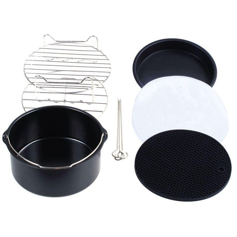 5.8QT XL Air Fryer Accessories 8 Inch for Gowise Phillips and Cozyna,Air Fryer Accessories Set of 6,include Cake Barrel Skewer Rack,Bread Rack,Silicone Mat,Metal Holder,Fit all 5.3QT Pizza Pan