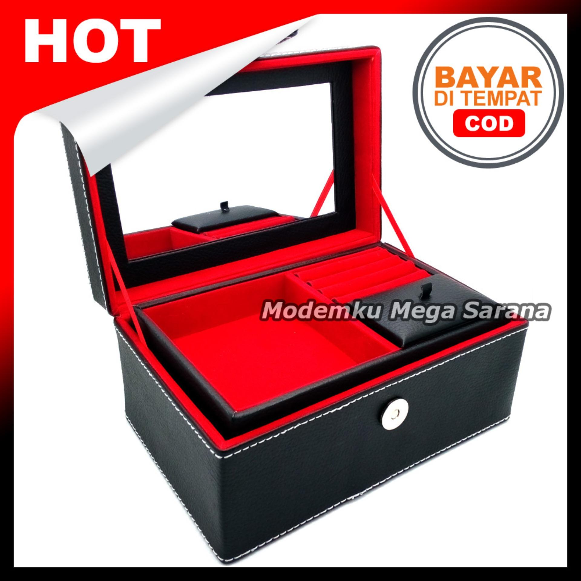 Kotak Box Perhiasan Kalung Gelang Cincin & Aksesoris 21x14x11 cm - Hitam dlm Merah