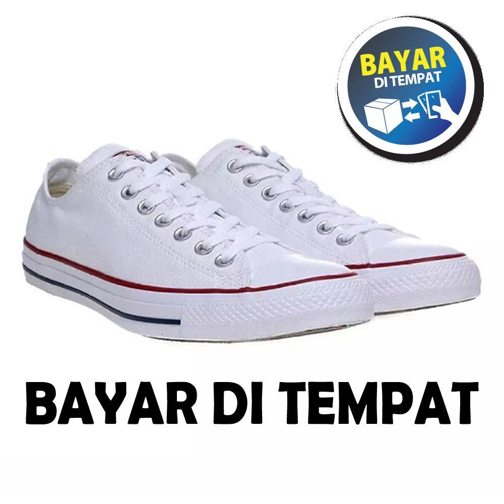 Zacksho Sepatu sneakers all star putih list merah-sepatu casual-sepatu kets Pria  Wanita 299c9df260