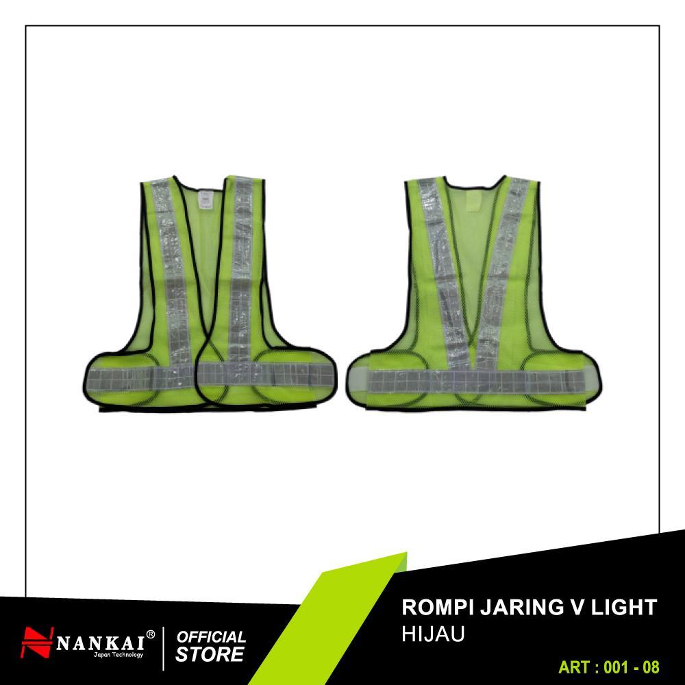 Nankai Safety Vest - Baju Rompi Proyek Pengaman Jaring V Hijau Perkakas Tool By Nankaitools.