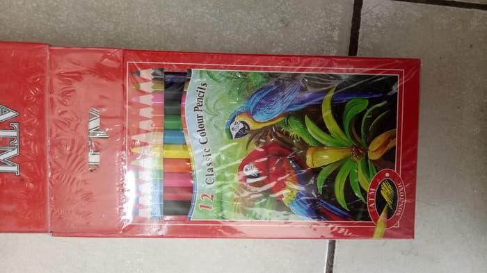 pensil 12 warna panjang ATM Pensil Warna Murah