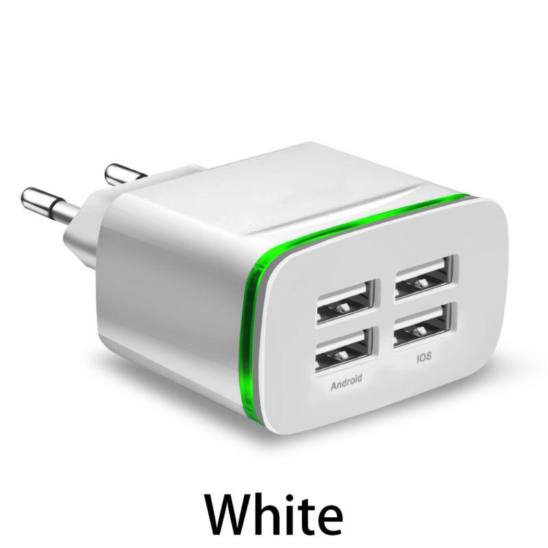 Wall Charger Power Adapter Charger Universal Durable 4A 5V Plastic Fast Charging 4 USB Porte Home Wall Travel AC Power Charger Adapter Per iPhone 6 7 Samsung