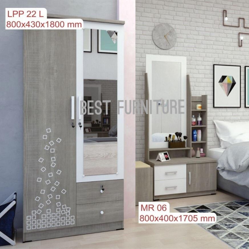 Best Paket Hemat-02 Furniture Ruang Kamar Lemari Pakaian 2pintu Lpp22l Dan Meja Rias Mr06 2unit - Italian Walnut By Best Furniture.