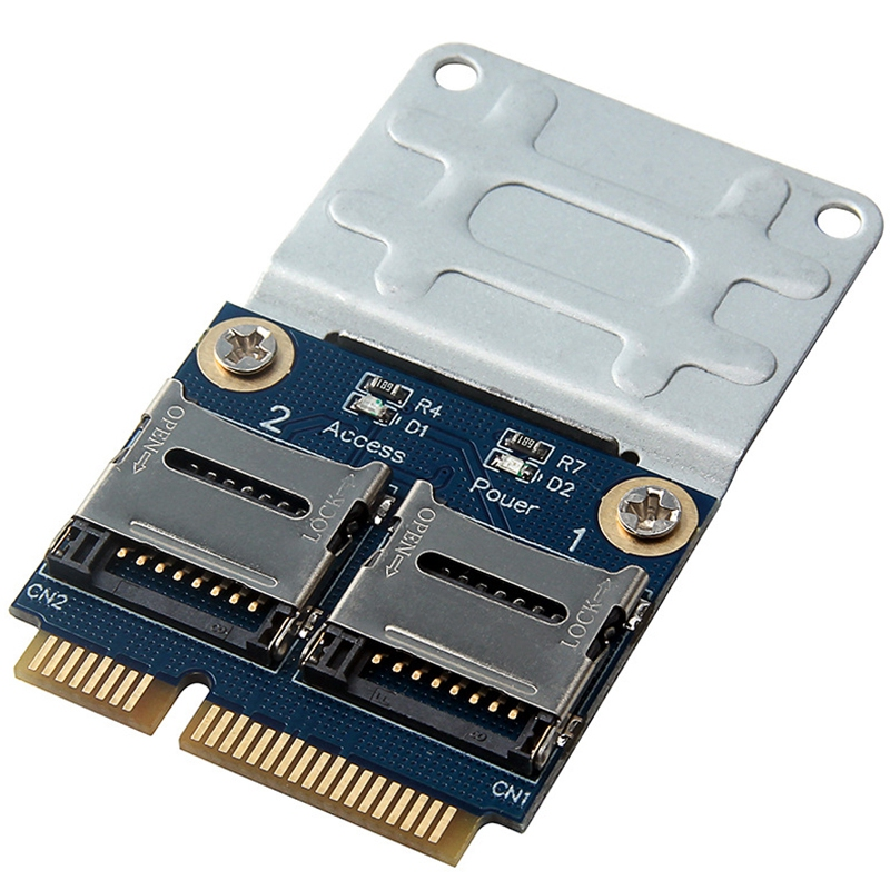 2 Ssd Hdd For Laptop Dual Micro- Sd Sdhc Sdxc Tf To Mini Pcie Memory Card Reader Mpcie To 2 Mini-Sdcards Mini Pci-E Adapter.