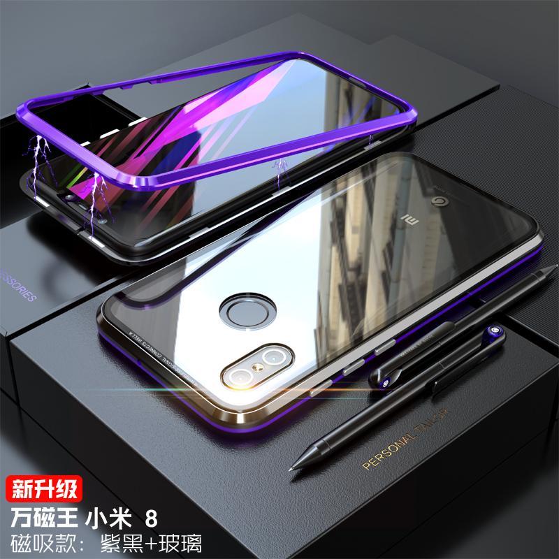 Generasi kedua tempelan magnet Xiaomi 8 Casing HP gelas transparan Xiao mi 8 Bungkus Penuh cangkang logam sangat tipis anti jatuh kepribadian kreatif permukaan tunggal Kaca minimalis pasang Pria dan wanita populer merah model baru Casing