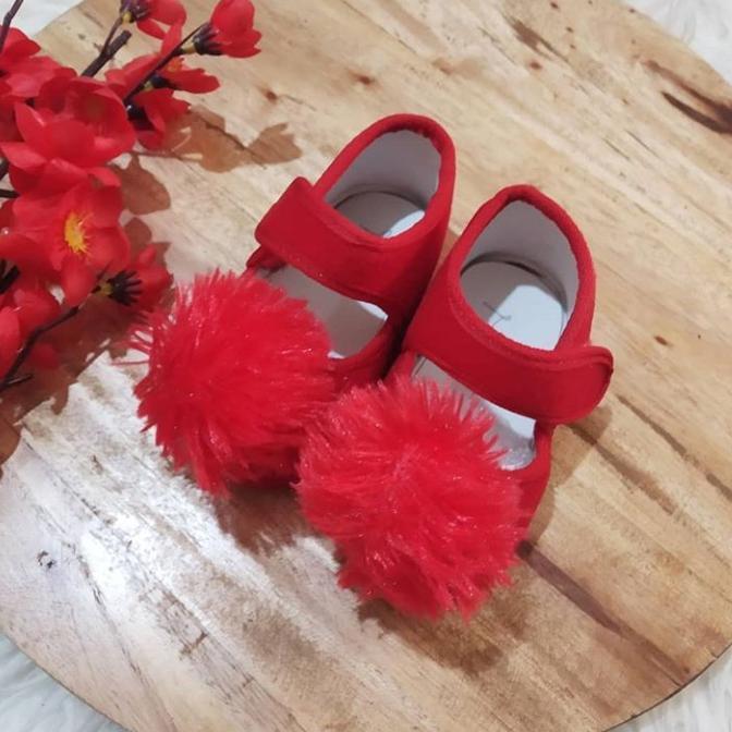 Sepatu bayi murah 0-12bulan pompom merah 7b9d76edb9