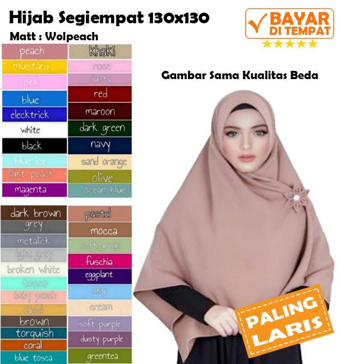 Hijab Segi Empat Jumbo Syari 130 x 130 Jilbab Segiempat Khimar Kerudung Syari