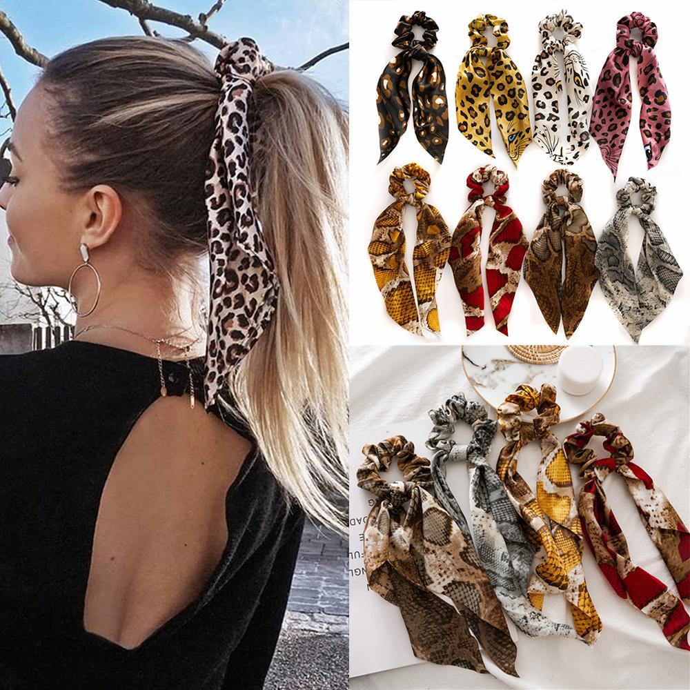 Floral Printed Chiffon Hair Scrunchies Elastic Hair Bands Ponytail Hair Tie Rope