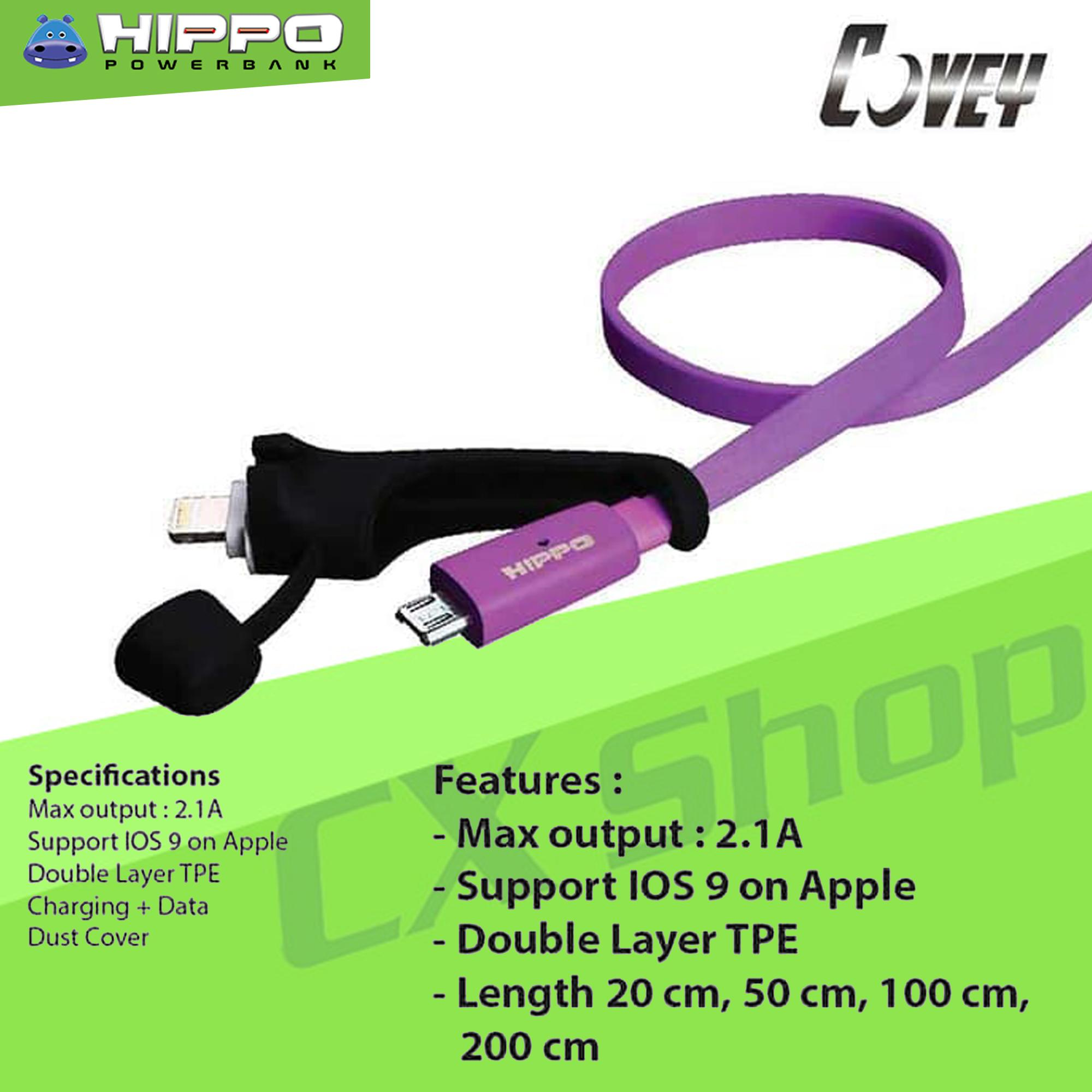Hippo Covey 2 in 1 Kabel USB Micro + Lightning iPhone 100cm - Putih