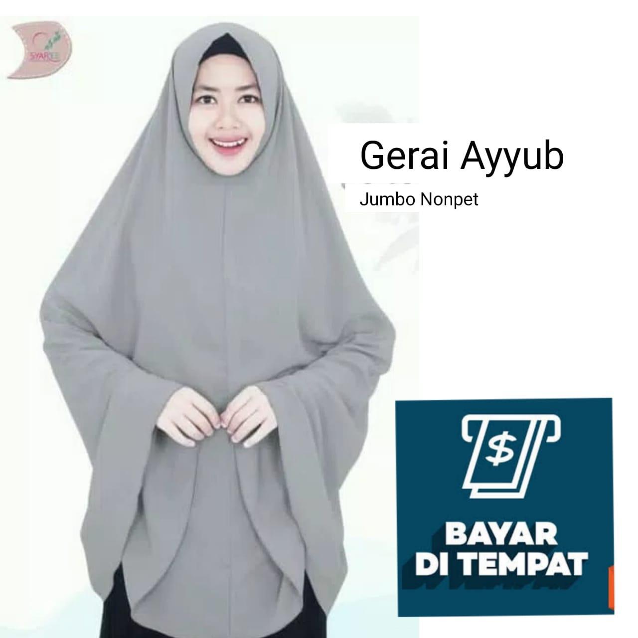 Jilbab / Hijab Instan JUMBO NON PET khimar syari kerudung instan gerai ayyub