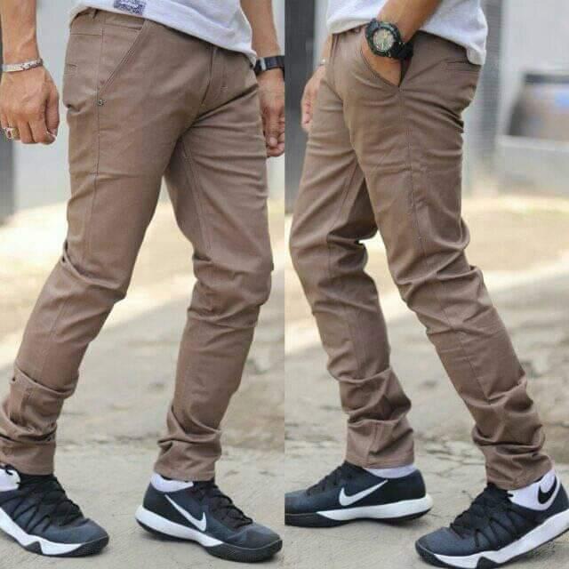 Silver one celana panjang chino warna coklat/bahan cotton strecth mona (elastis)/model celana skinny/celana real pict (persis seperti yang di foto)