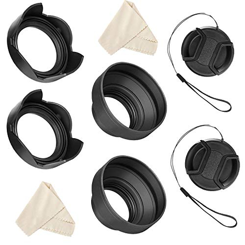 Veatree 55mm and 58mm Lens Hood Set for Nikon D3400 D3500 D5300 D5500 D5600 D7500 DSLR Camera with AF-P DX NIKKOR 18-55mm f/3.5-5.6G VR and AF-P DX NIKKOR 70-300mm f/4.5-6.3G ED Lenses