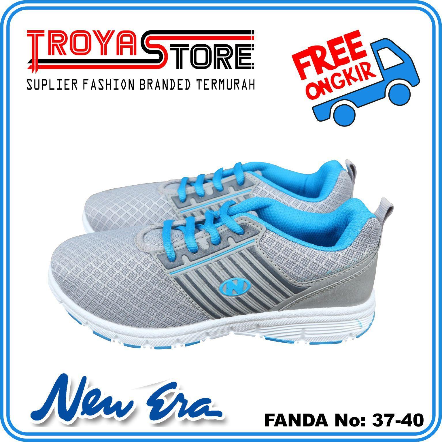 TROYASTORE - NEW ERA Sepatu Wanita Murah FANDA Original   Sepatu Sport  Wanita Abu Hijau Orange fd33ed5680