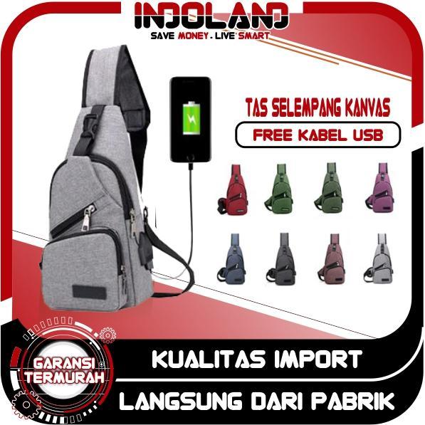 INDOLAND - TAS SELEMPANG KANVAS USB MURAH Sling bag Murah IMPORT Batam Slempang  Tas Dada 8dfa2f0e19